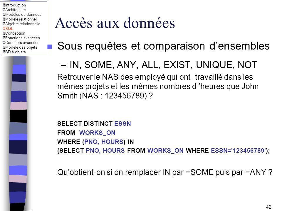 Accès aux données Sous requêtes et comparaison d'ensembles