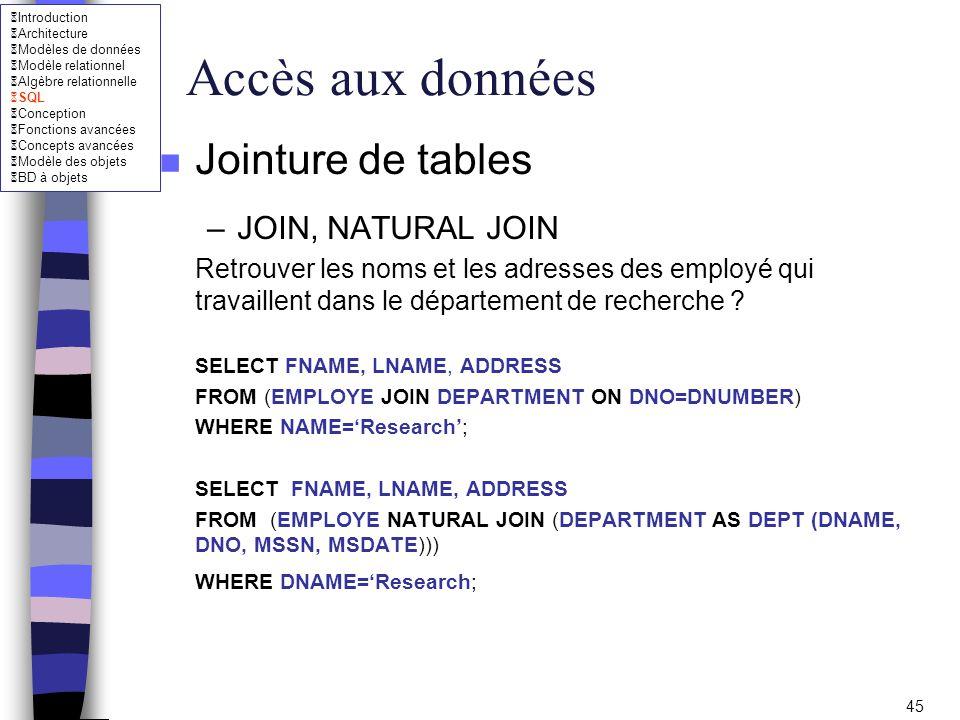 Accès aux données Jointure de tables JOIN, NATURAL JOIN