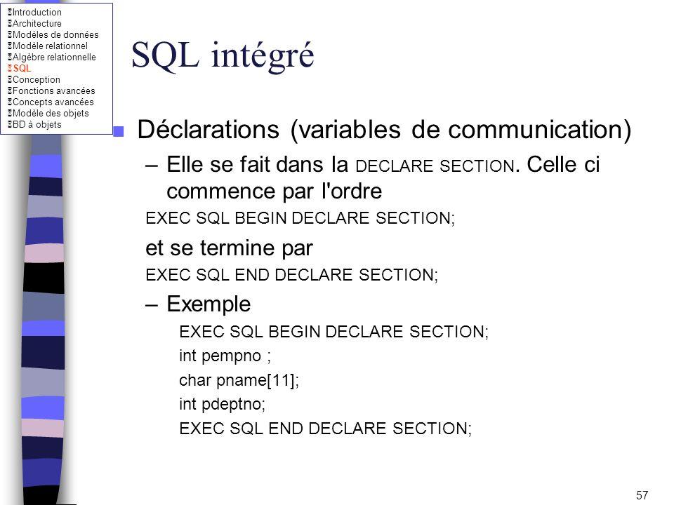 SQL intégré Déclarations (variables de communication)