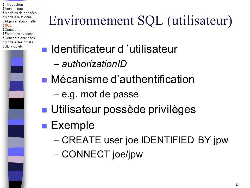 Environnement SQL (utilisateur)