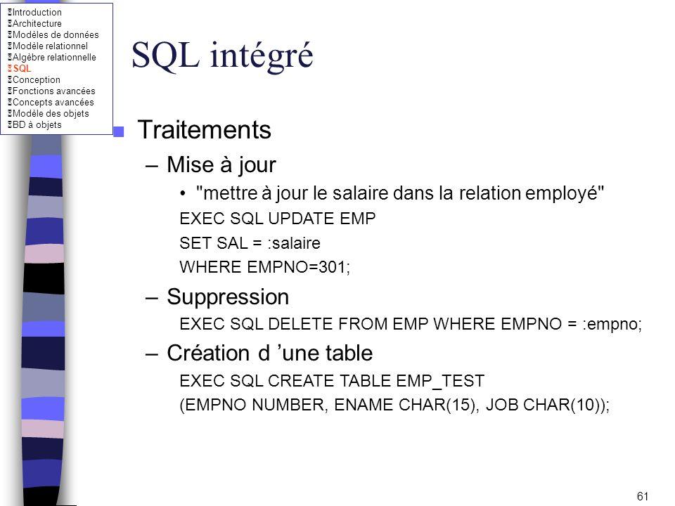SQL intégré Traitements Mise à jour Suppression Création d 'une table