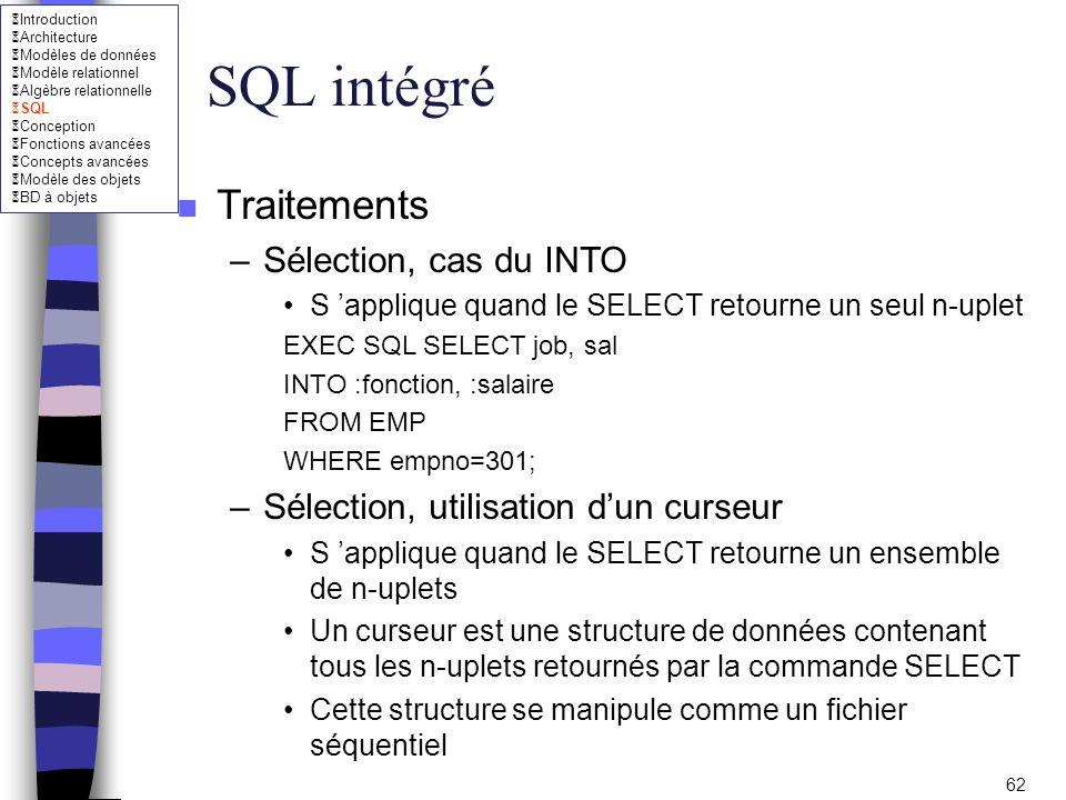 SQL intégré Traitements Sélection, cas du INTO