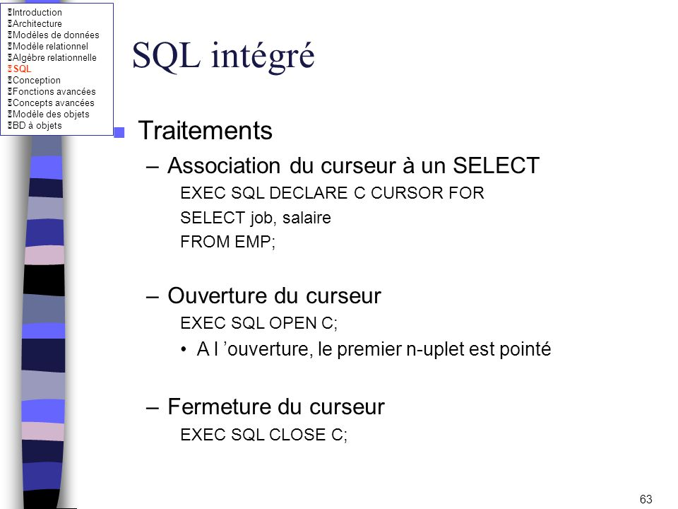 SQL intégré Traitements Association du curseur à un SELECT