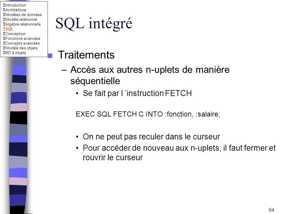 SQL intégré Traitements