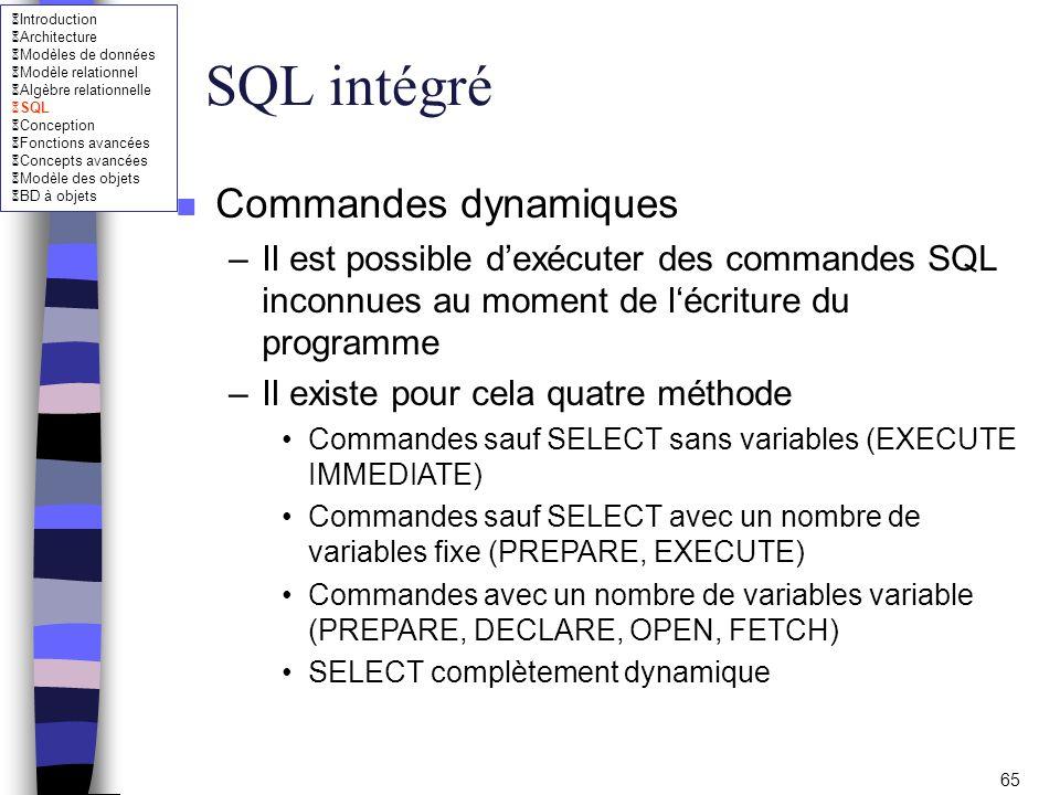 SQL intégré Commandes dynamiques
