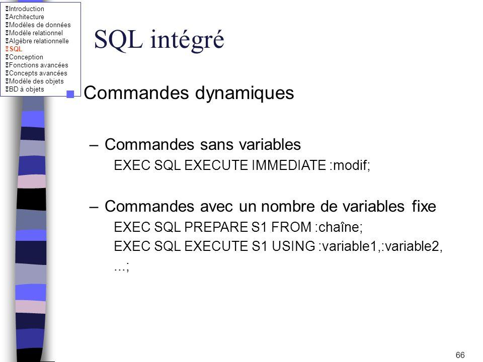 SQL intégré Commandes dynamiques Commandes sans variables