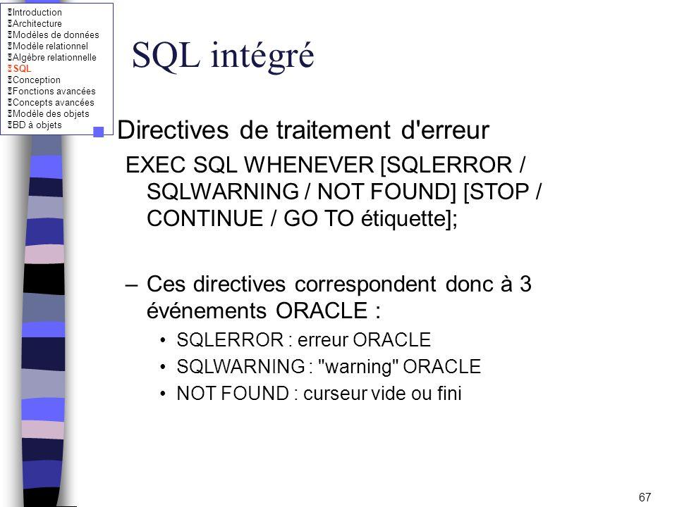 SQL intégré Directives de traitement d erreur