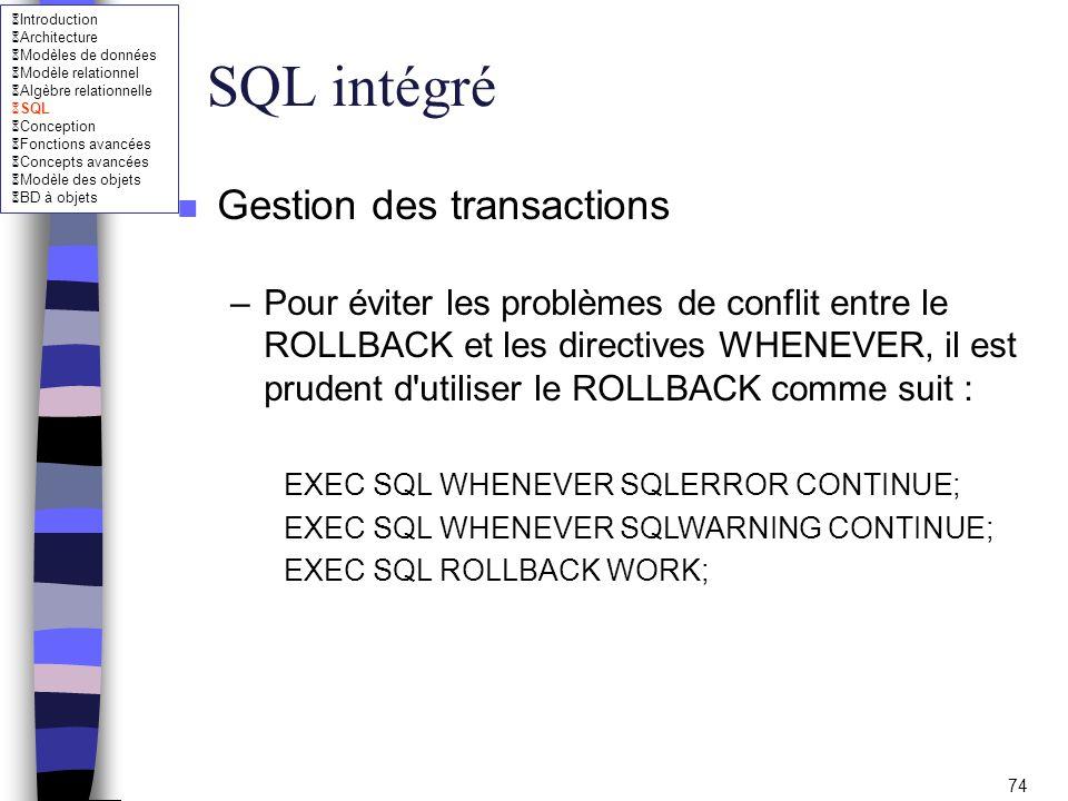 SQL intégré Gestion des transactions