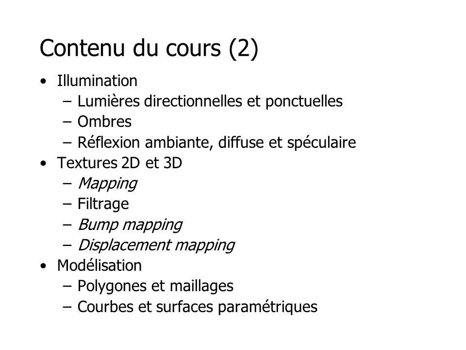 Contenu du cours (2) Illumination