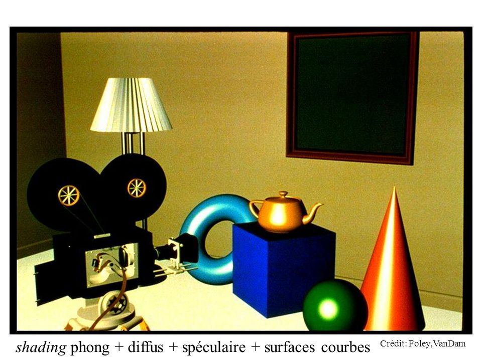shading phong + diffus + spéculaire + surfaces courbes