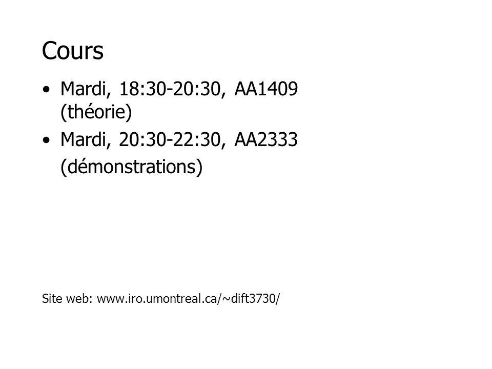 Cours Mardi, 18:30-20:30, AA1409 (théorie) Mardi, 20:30-22:30, AA2333