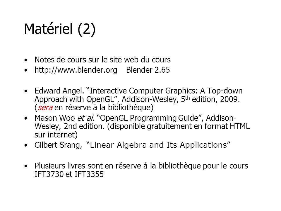Matériel (2) Notes de cours sur le site web du cours