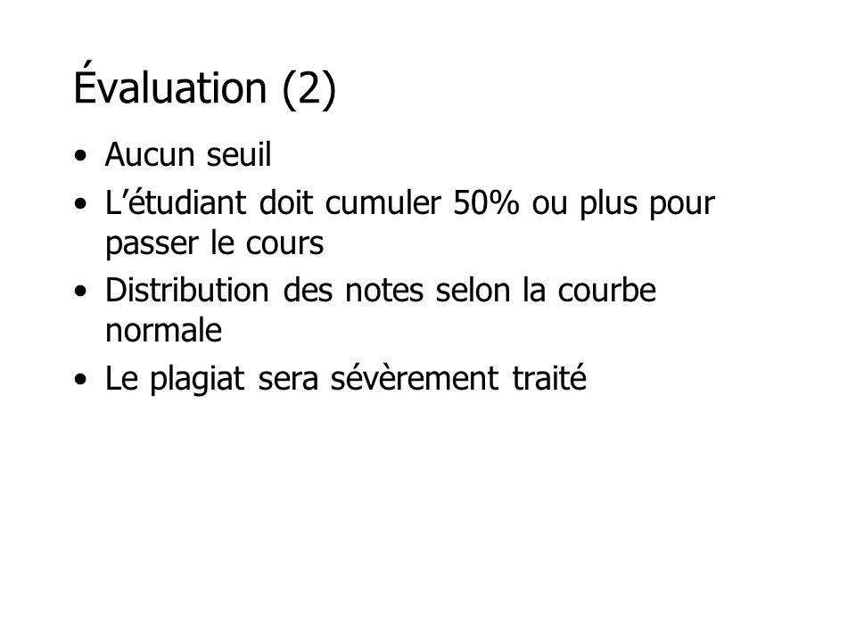 Évaluation (2) Aucun seuil