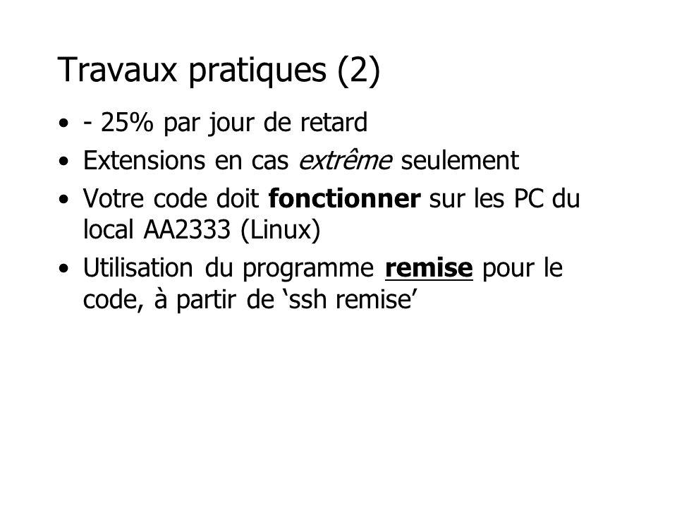 Travaux pratiques (2) - 25% par jour de retard