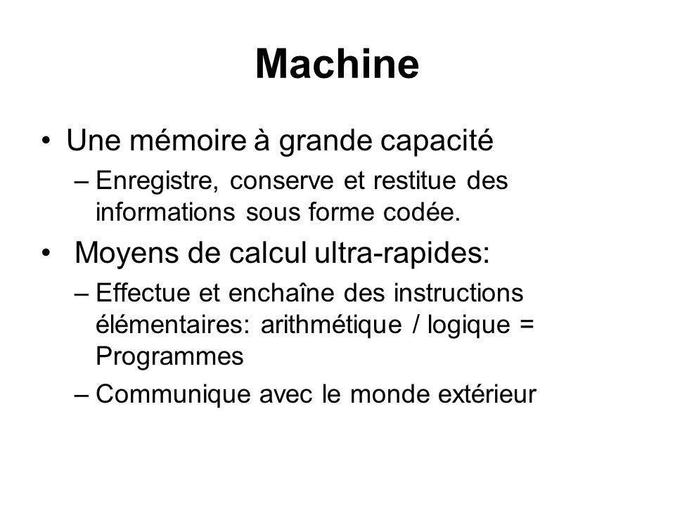 Machine Une mémoire à grande capacité Moyens de calcul ultra-rapides: