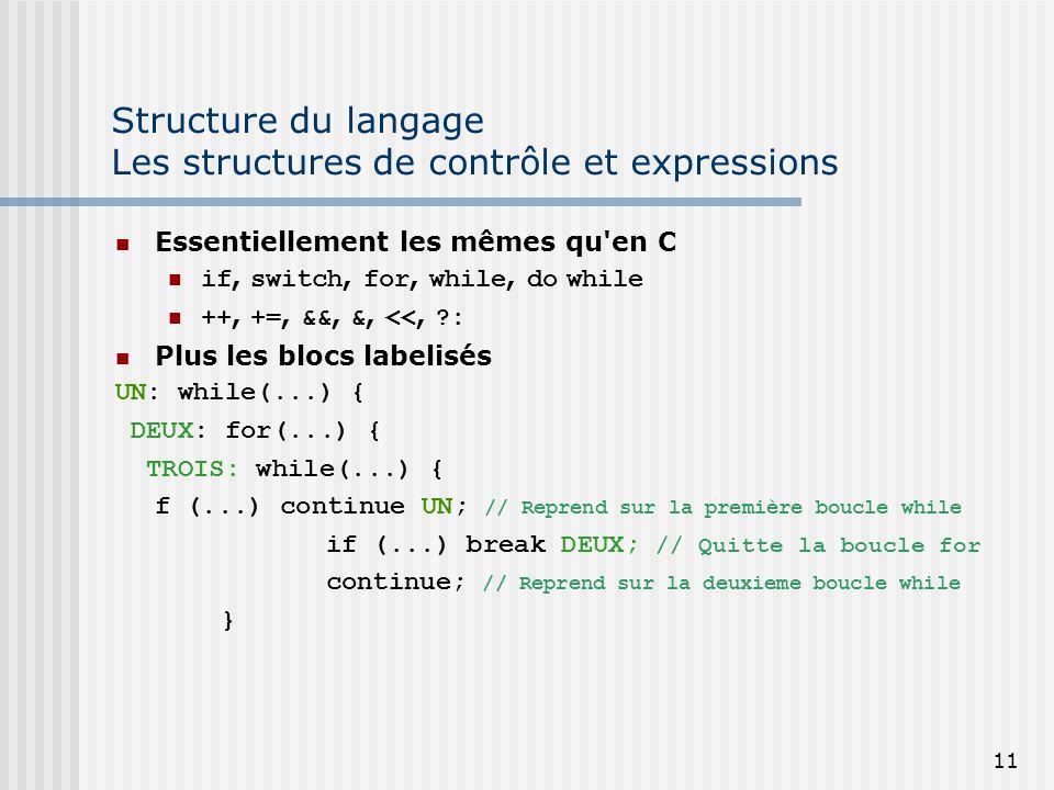 Structure du langage Les structures de contrôle et expressions