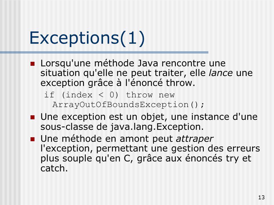 Exceptions(1) Lorsqu une méthode Java rencontre une situation qu elle ne peut traiter, elle lance une exception grâce à l énoncé throw.