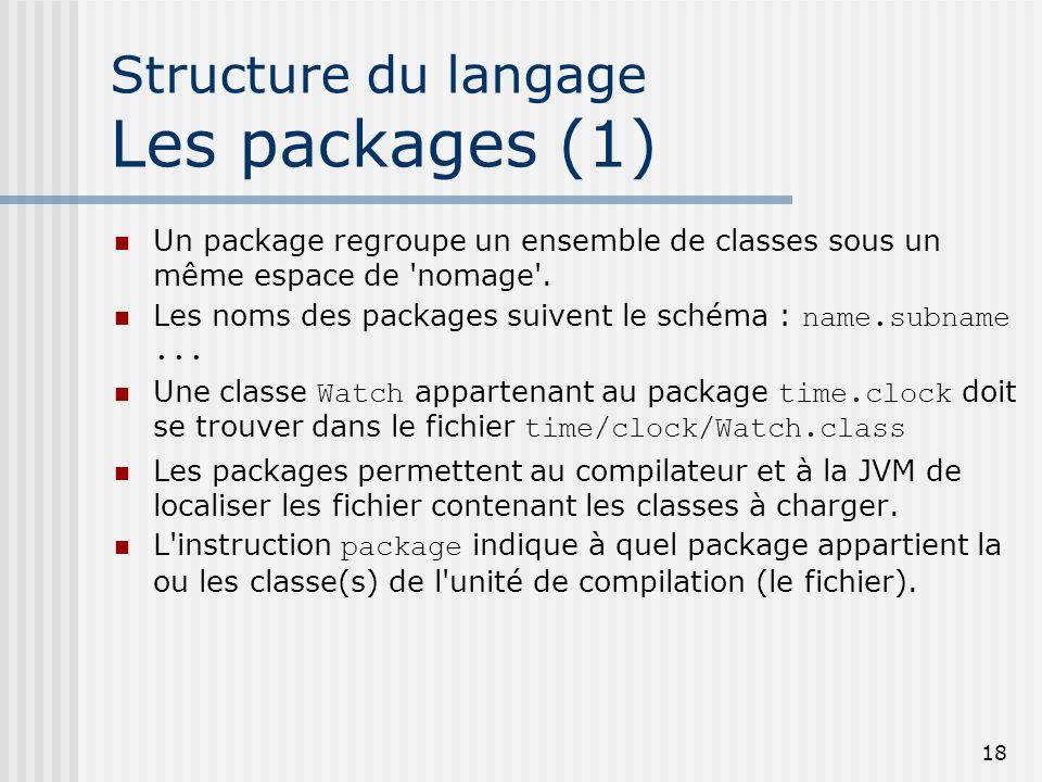 Structure du langage Les packages (1)