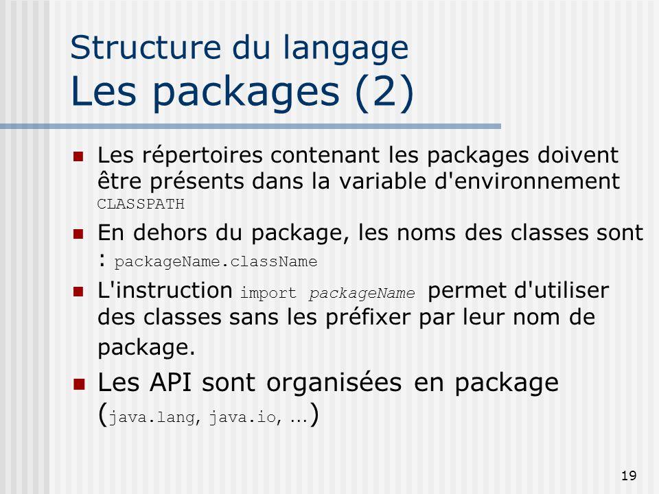 Structure du langage Les packages (2)