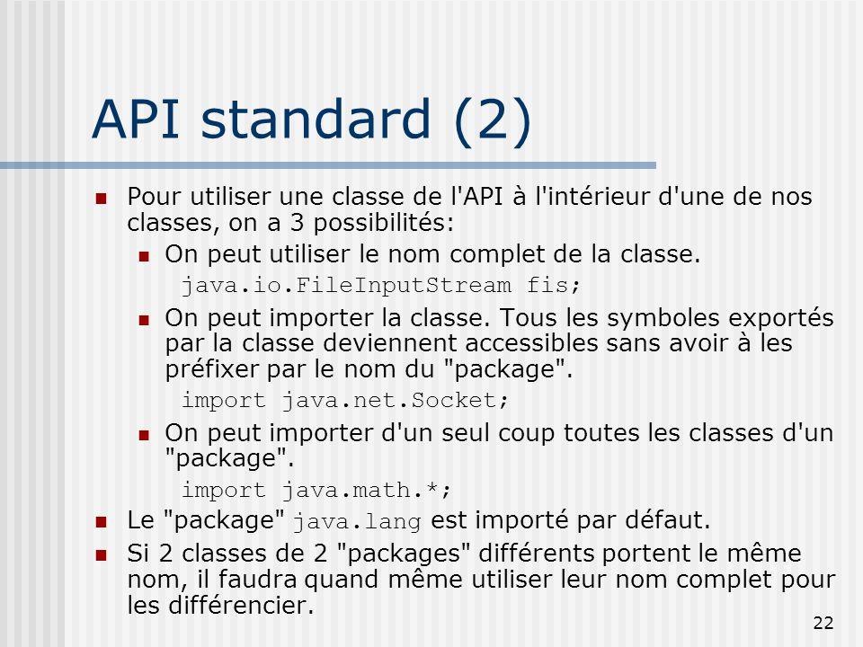 API standard (2) Pour utiliser une classe de l API à l intérieur d une de nos classes, on a 3 possibilités: