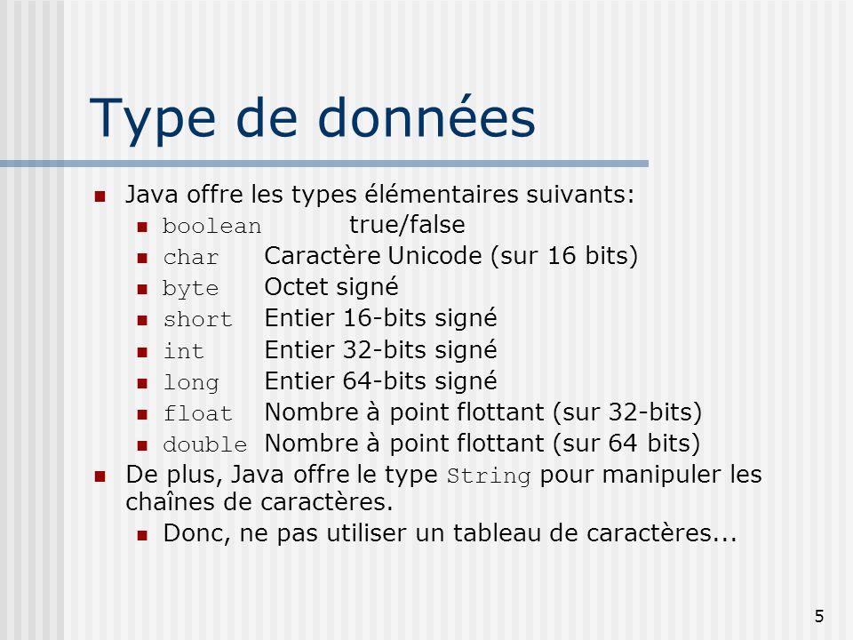 Type de données Java offre les types élémentaires suivants:
