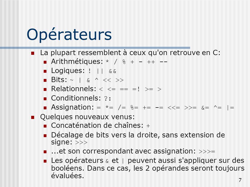 Opérateurs La plupart ressemblent à ceux qu on retrouve en C: