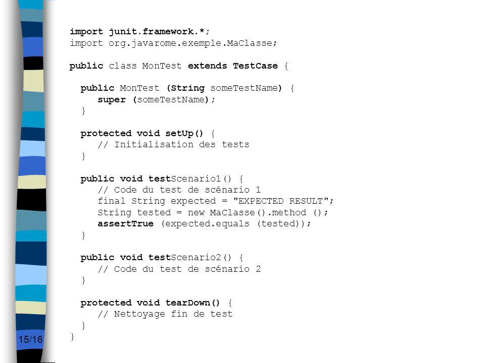 import junit. framework. ; import org. javarome. exemple