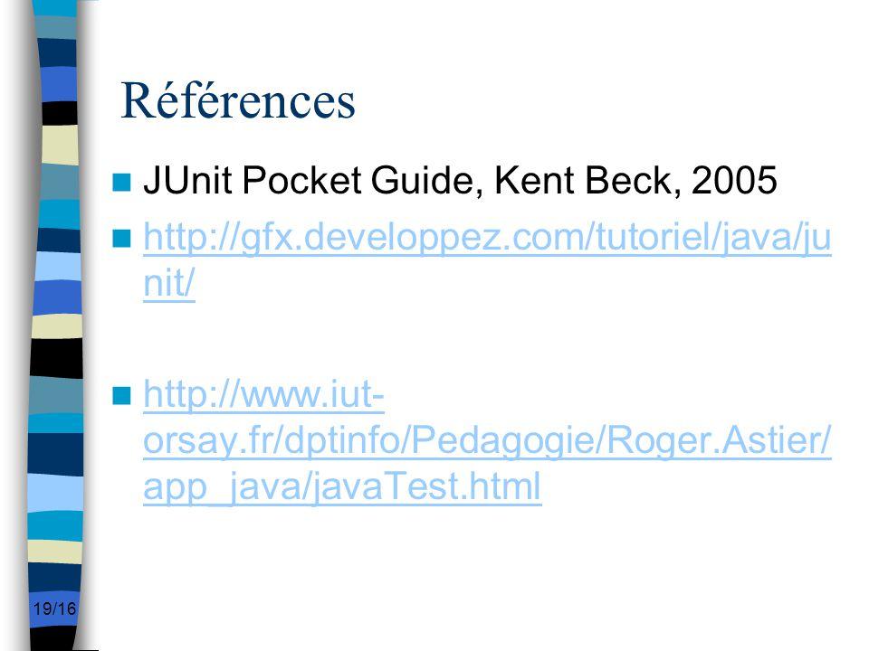 Références JUnit Pocket Guide, Kent Beck, 2005