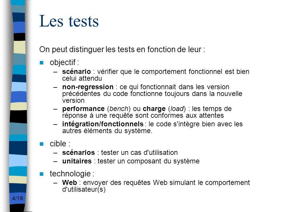 Les tests On peut distinguer les tests en fonction de leur :