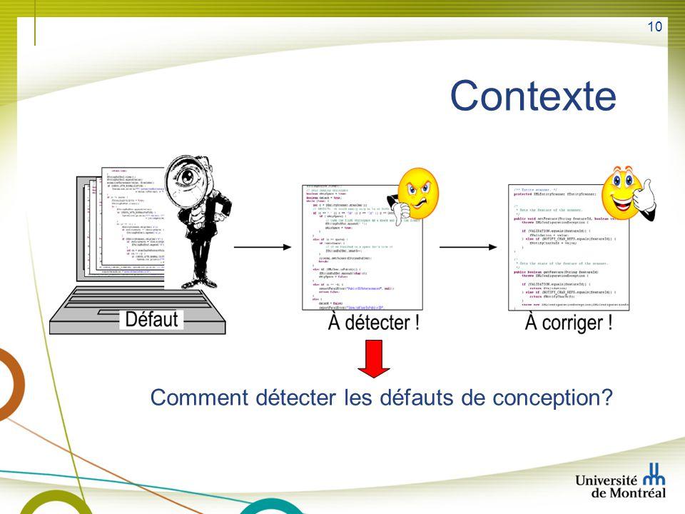 Contexte Comment détecter les défauts de conception