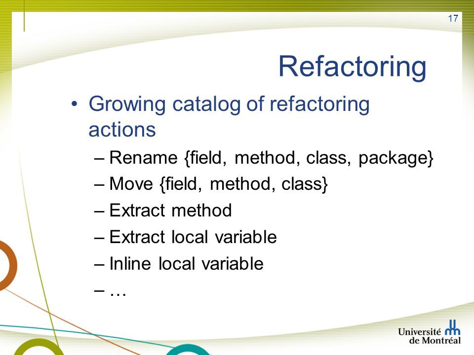 Refactoring Growing catalog of refactoring actions