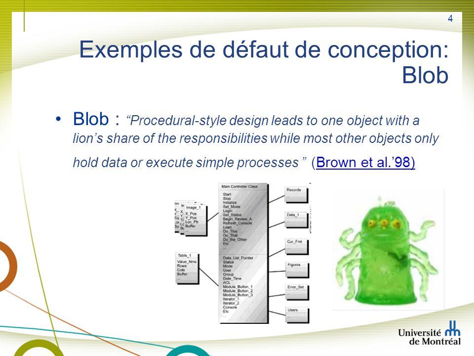 Exemples de défaut de conception: Blob
