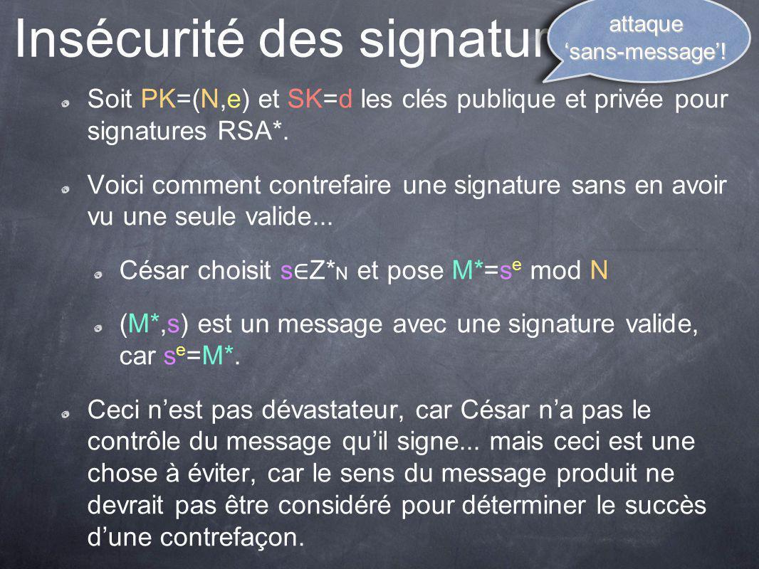 Insécurité des signatures RSA*