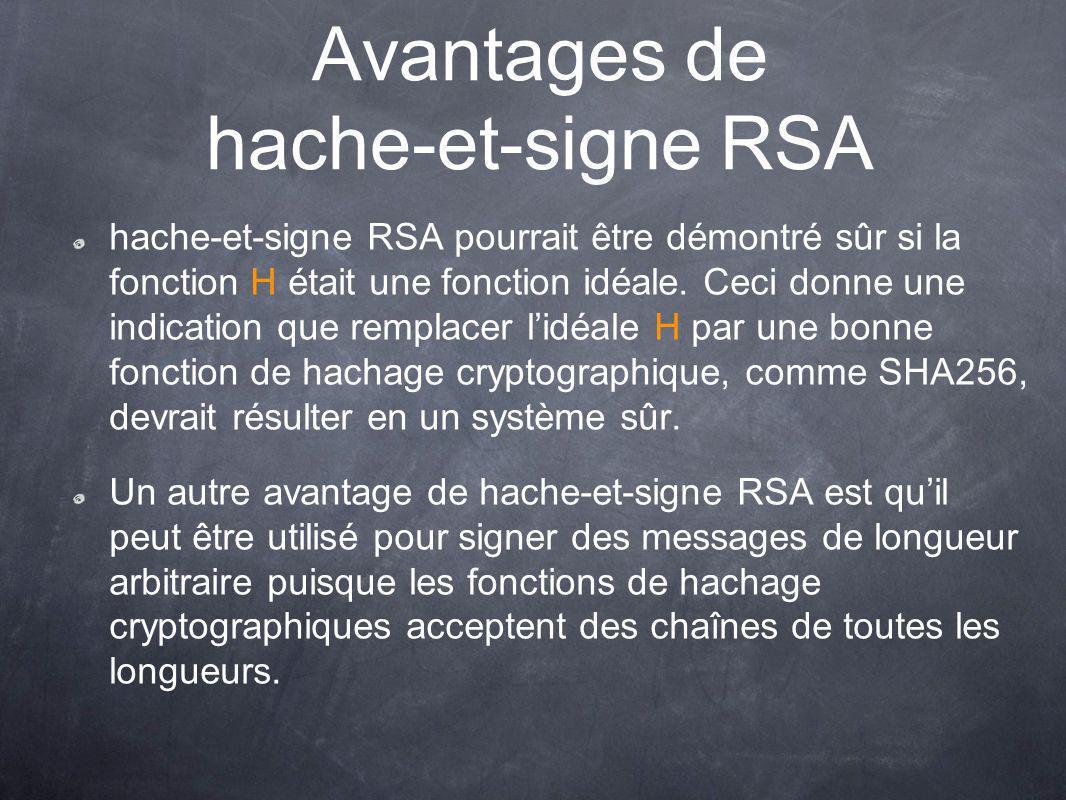 Avantages de hache-et-signe RSA