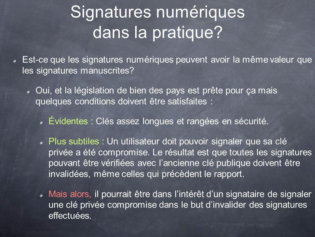 Signatures numériques dans la pratique