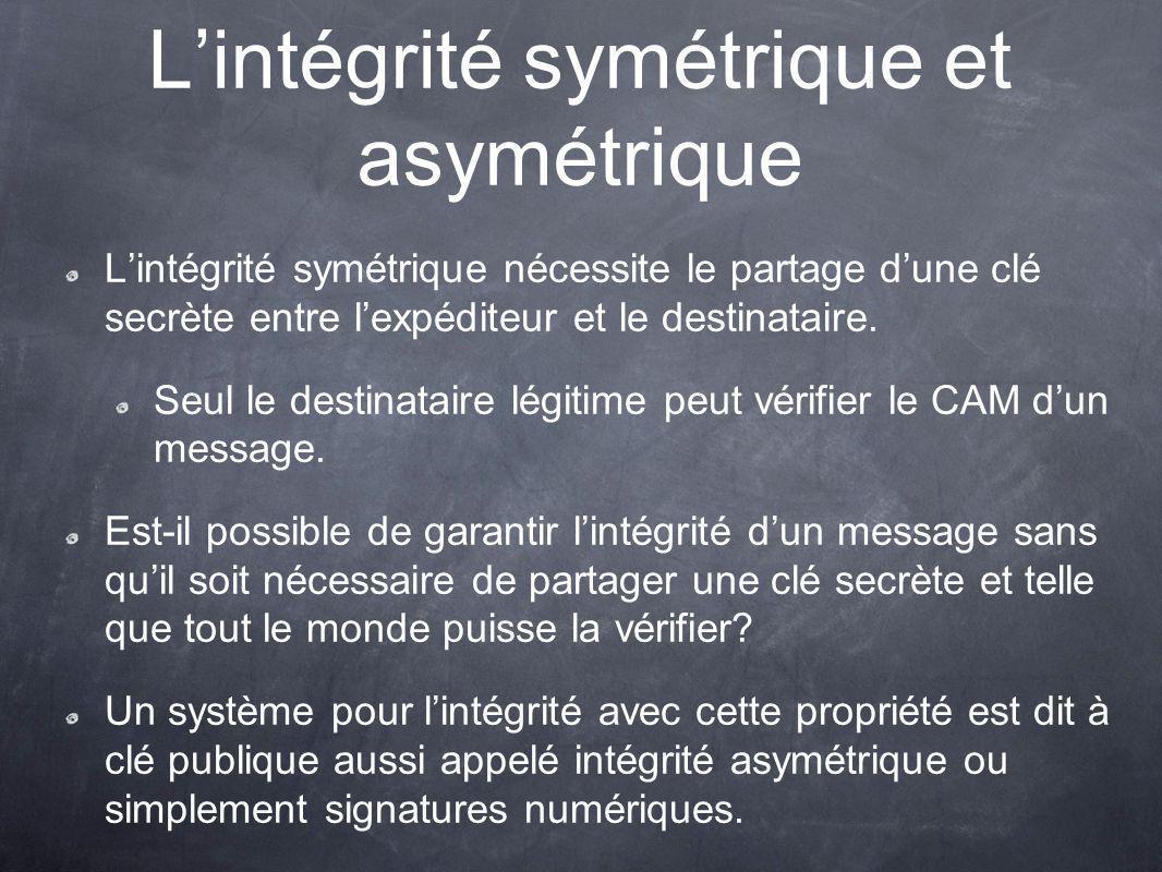 L'intégrité symétrique et asymétrique