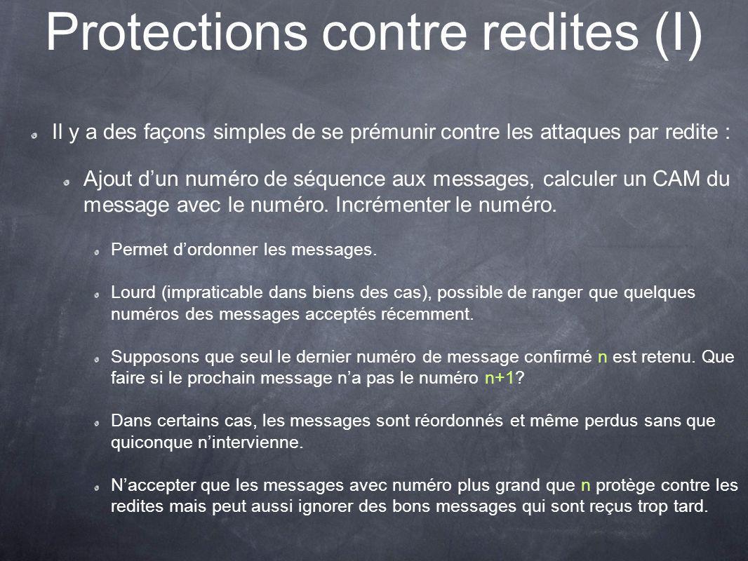 Protections contre redites (I)