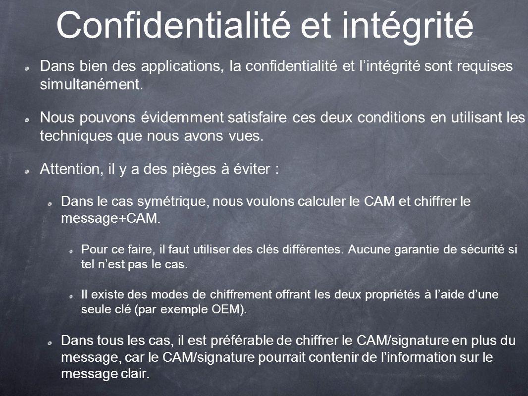 Confidentialité et intégrité