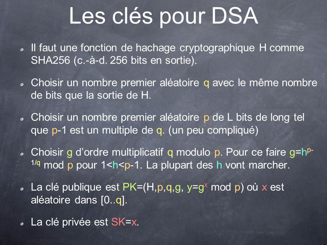 Les clés pour DSA Il faut une fonction de hachage cryptographique H comme SHA256 (c.-à-d. 256 bits en sortie).