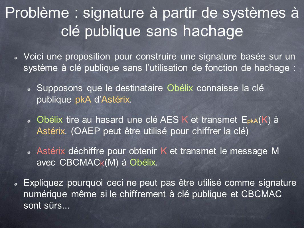 Problème : signature à partir de systèmes à clé publique sans hachage