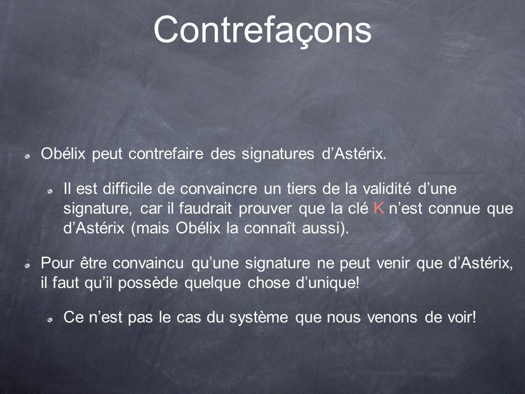 Contrefaçons Obélix peut contrefaire des signatures d'Astérix.