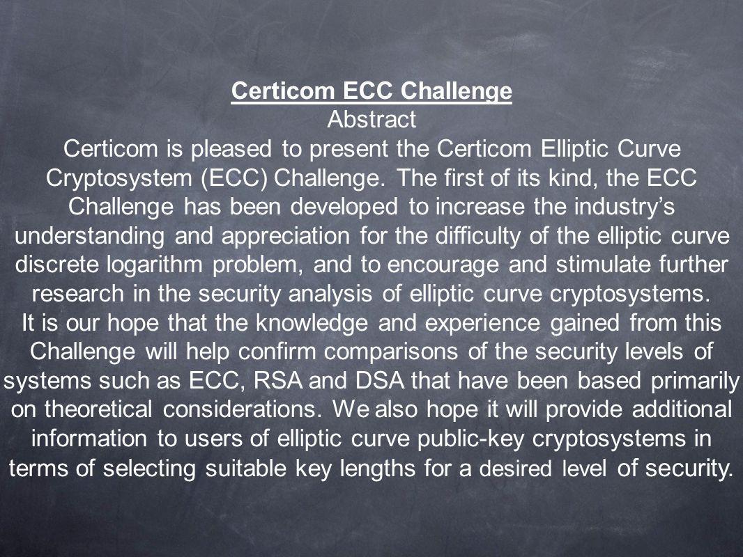 Certicom ECC Challenge