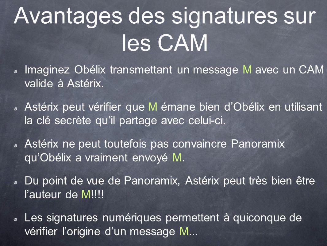 Avantages des signatures sur les CAM