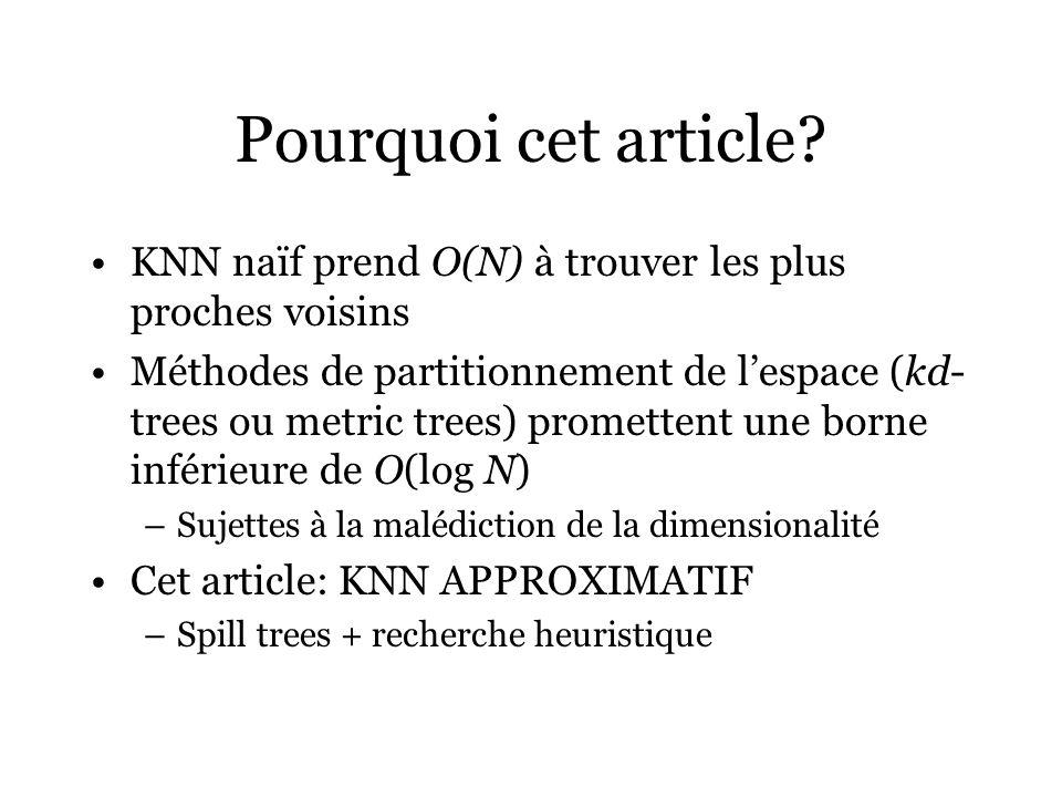 Pourquoi cet article KNN naïf prend O(N) à trouver les plus proches voisins.