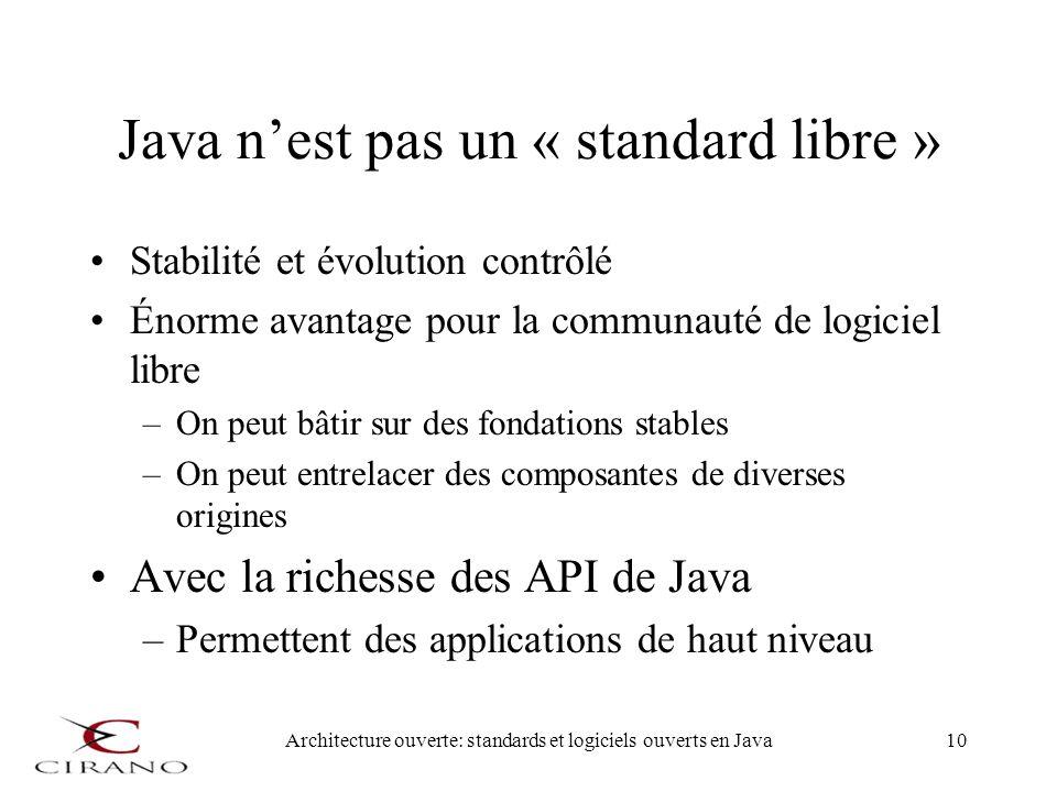 Java n'est pas un « standard libre »