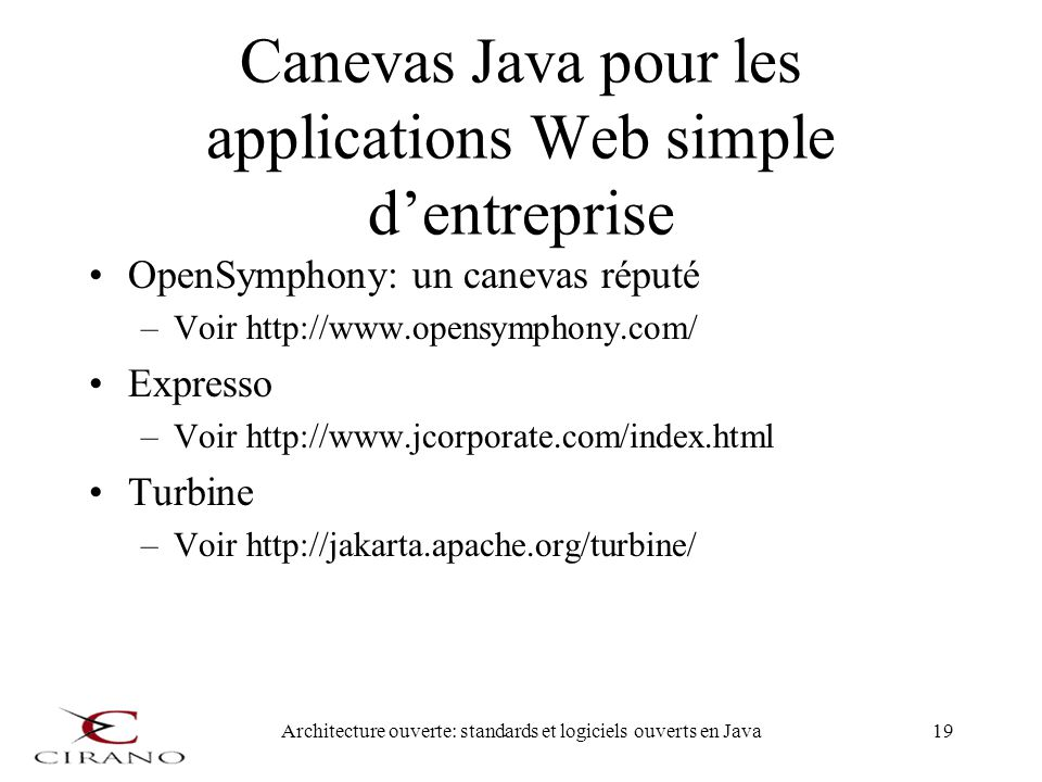 Canevas Java pour les applications Web simple d'entreprise