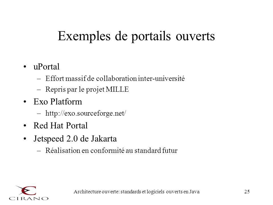 Exemples de portails ouverts