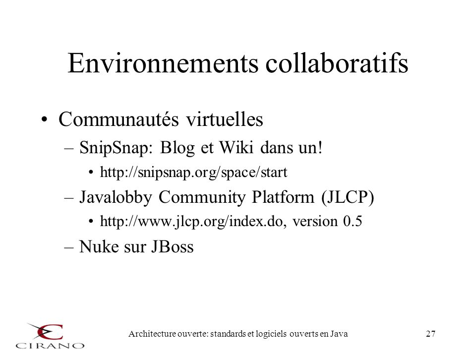 Environnements collaboratifs