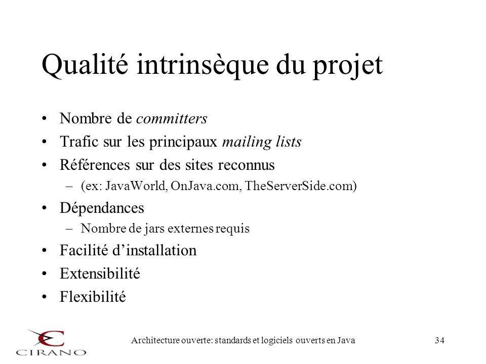Qualité intrinsèque du projet