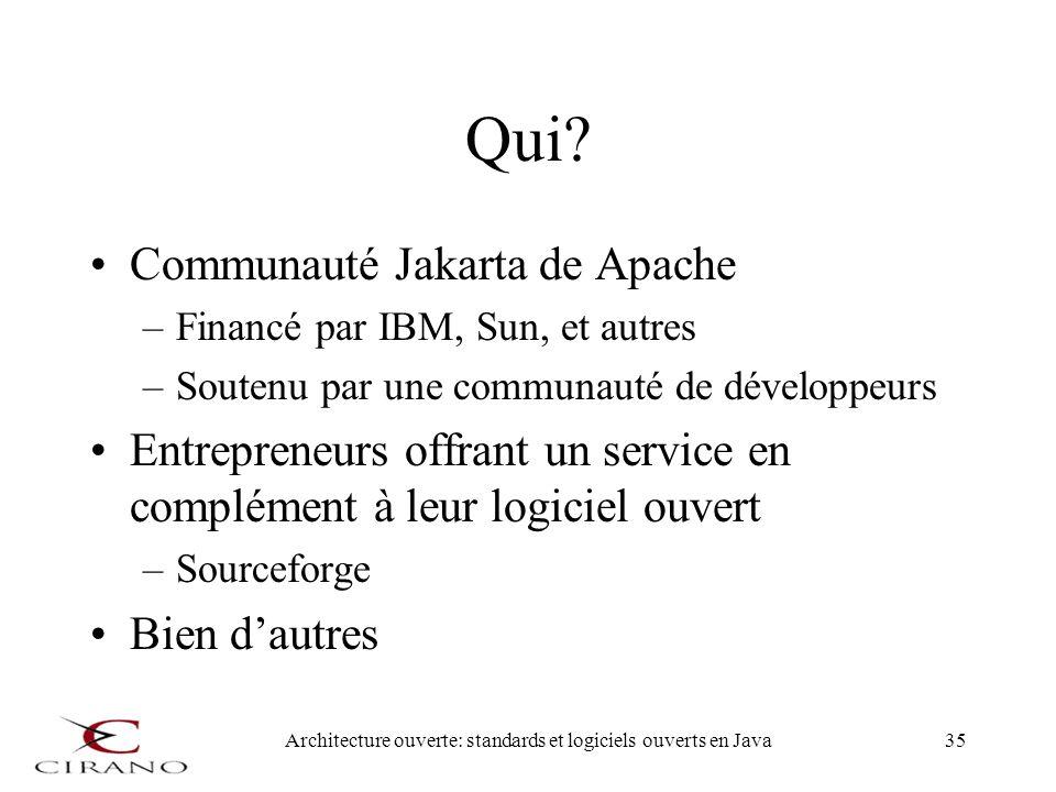 Architecture ouverte: standards et logiciels ouverts en Java